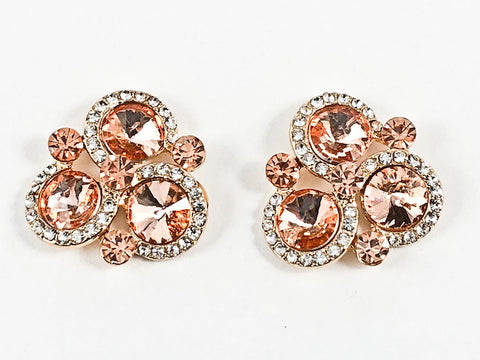 Fancy Unique Tri Round Halo Design Triangle Shape Peach Crystals Gold Tone Fashion Earrings