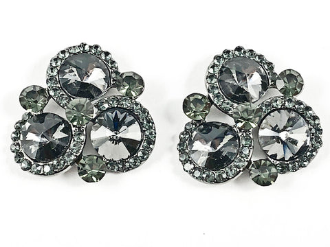 Fancy Unique Tri Round Halo Design Triangle Shape Grey Crystals Fashion Earrings