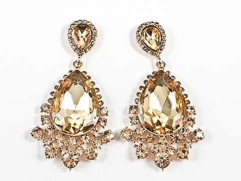Fancy Beautiful Wide Antique Style Design Topaz Crystals Dangle Gold Tone Fashion Earrings
