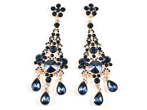 Fancy Beautiful Chandelier Style Dangle Sapphire Crystal Gold Tone Fashion Earrings