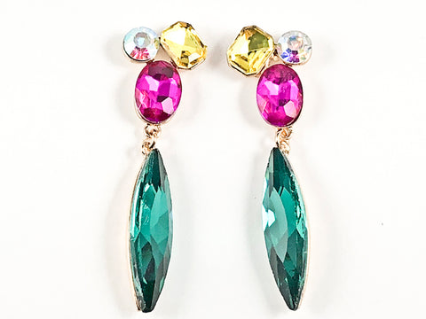 Fancy Elegant Mix Shape Narrow Long Multi Color Crystals Fashion Earrings