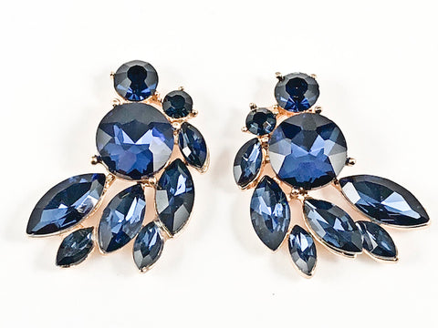 Fancy Beautiful Sharp Mix Shape Stone Pattern Design Sapphire Crystals Gold Tone Fashion Earrings