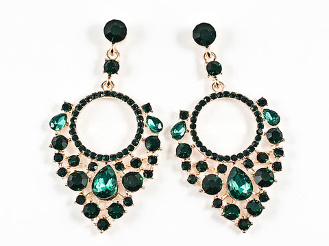 Fancy Beautiful Mix Shape Mosaic Design Patter Green Crystals Gold Tone Fashion Earrings