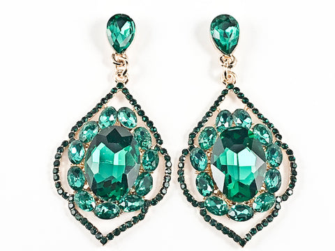 Fancy Elegant Antique Style Large Dangle Green Crystals Gold Tone Fashion Earrings