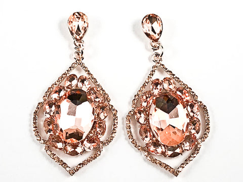 Fancy Elegant Antique Style Large Dangle Peach Crystals Pink Gold Tone Fashion Earrings