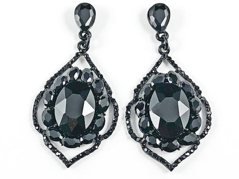 Fancy Elegant Antique Style Large Dangle Black Crystals Fashion Earrings