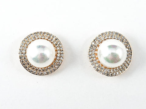 Beautiful Round Micro CZ Frame With Center Pearl Gold Tone Brass Earrings