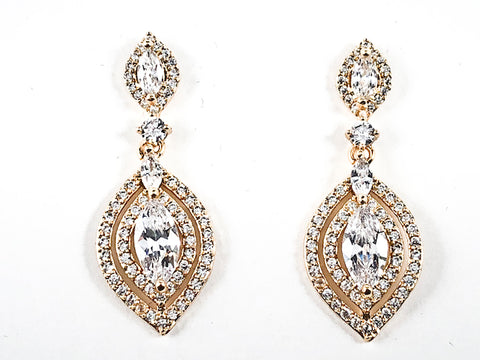 Elegant Diamond Shape Design Vintage Style Dangle CZ Gold Tone Brass Earrings