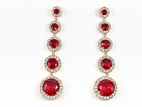 Beautiful 5 Row Mix Size Round Red Color Center CZ Dangle Gold Tone Brass Earrings