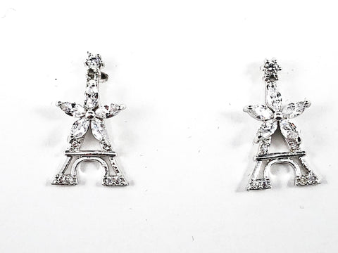 Beautiful Micro Eiffel Tower Design Center Star CZ Brass Stud Earrings