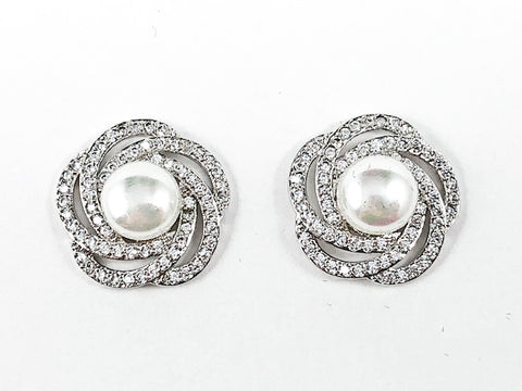Beautiful Swirl CZ Frame With Center Pearl Brass Stud Earrings