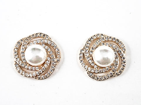 Beautiful Swirl CZ Frame With Center Pearl Gold Tone Brass Stud Earrings