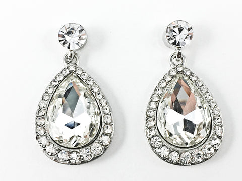 Fancy Large Pear Shaped Dangle Fashion Earrings