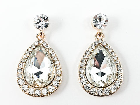 Fancy Large Pear Shaped Dangle Gold Tone Fashion Earrings