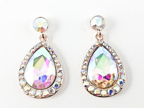 Fancy Large Pear Shaped Dangle Aurora Borealis Crystal Fashion Earrings