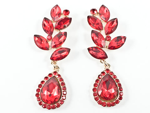 Fancy Unique Floral Pattern Dangle Red Crystal Gold Tone Fashion Earrings