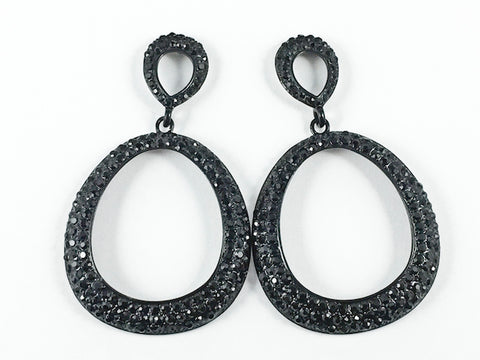 Fancy Unique Black Crystals Setting Large Open Oval Shape Dangle Fashion Earrings