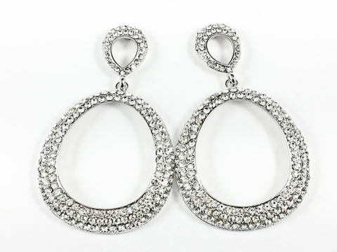 Fancy Unique Clear Crystals Setting Large Open Oval Shape Dangle Fashion Earrings