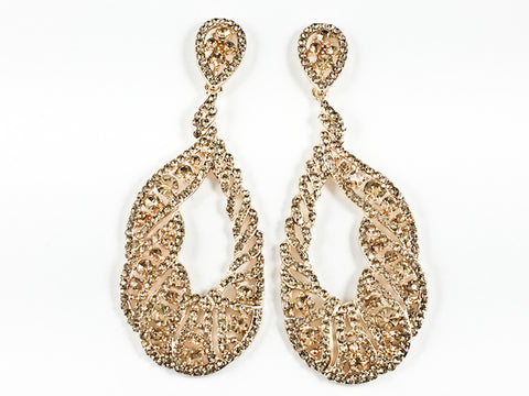 Fancy Long Oval Shape Unique Open Pattern Design Topaz Crystals Gold Tone Fashion Earrings