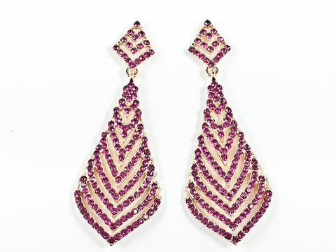 Fancy Layered Triangular  Design Pattern Fuchsia Crystal Gold Tone Dangle Fashion Earrings