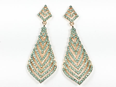 Fancy Layered Triangular  Design Pattern Teal Crystal Gold Tone Dangle Fashion Earrings