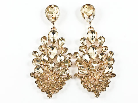 Fancy Unique Floral Dangle Brown Crystal Design Dangle Fashion Earrings