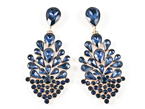Stylish Mix Pear Shapes Mosaic Design Dark Blue Color Crystals Gold Tone Fashion Earrings