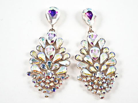 Fancy Unique Floral Dangle Aurora Borealis Crystal Design Dangle Pink Gold Tone Fashion Earrings