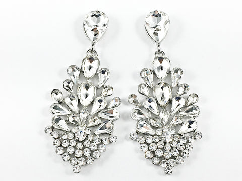 Fancy Unique Floral Dangle Crystal Design Dangle Fashion Earrings