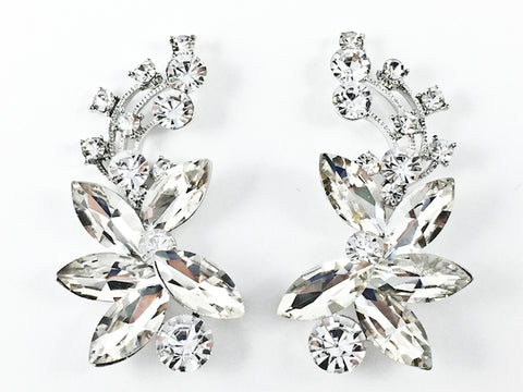 Fancy Unique Curved Floral Pattern Crystal Fashion Earrings