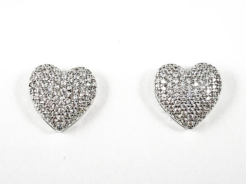 Beautiful Pave Setting CZ Heart Form Brass Earrings