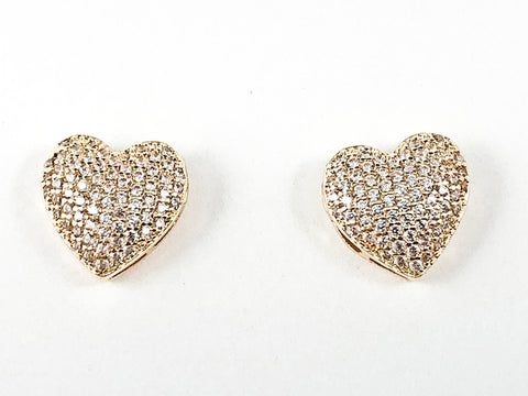 Beautiful Pave Setting CZ Heart Form Gold Tone Brass Earrings