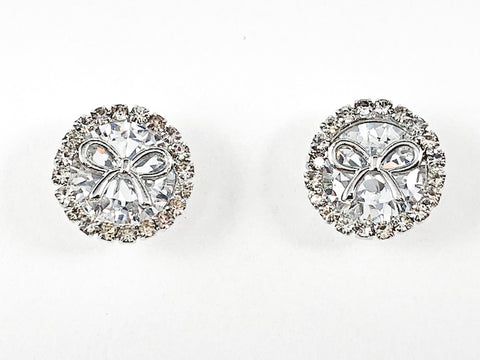 Nice Round Shape Center CZ & Bow Brass Earrings