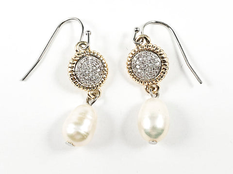 Beautiful Round Pave With Gold Tone Frame & Pearl Dangle Fish Hook Brass Earrings