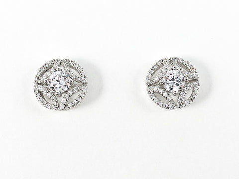 Classic Round Shape Center CZ Unique Open Frame Design Brass Earring