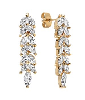Elegant Unique Dangle Design CZ Gold Tone Brass Earrings