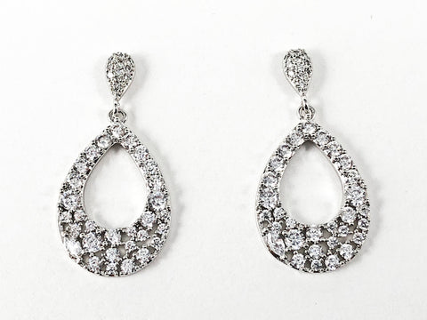 Classic Pear Shape Loose Stone Style CZ Setting Dangle Brass Earrings