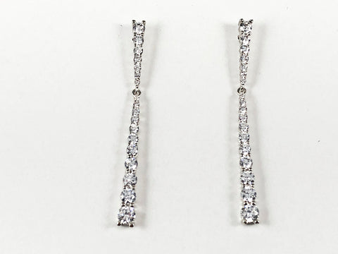 Elegant Thin Bar CZ Drop Brass Earrings