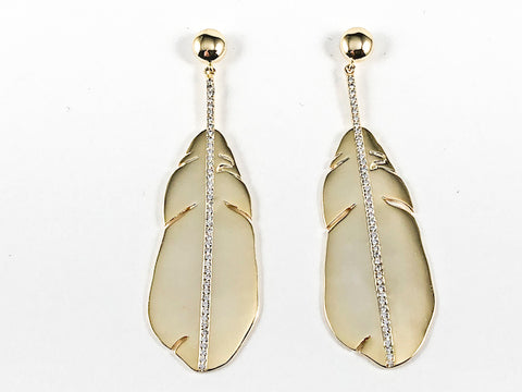 Elegant Shiny Metallic Realistic Long Leaf Dangle Design Gold Tone Brass Earrings