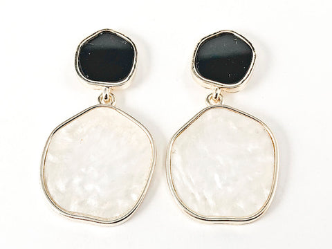 Beautiful Irregular Shape Black Onyx & Mother Of Pearl Dangle Gold Tone Brass Earrings