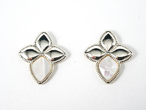Beautiful Diamond Flower Shape Shiny Metallic & Mother Of Pearl Design Gold Tone Brass Earrings