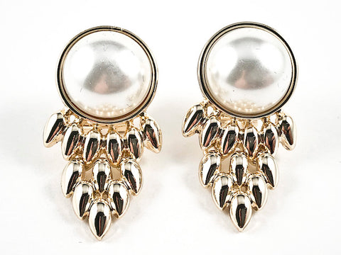 Beautiful Round Pearl With Chandelier Shiny Gold Tone Design Omega Clip Brass Earrings
