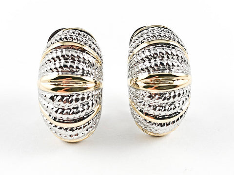 Modern Unique Curved Textured Two Tone Brass Clip On Earrings