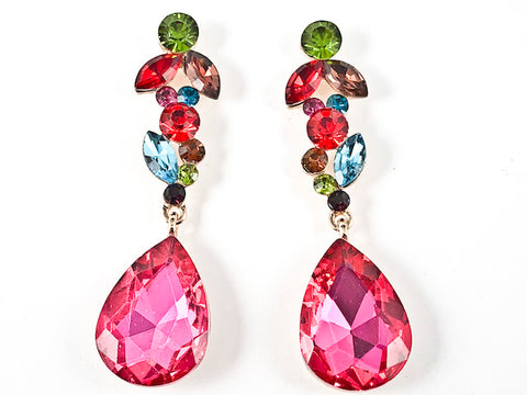 Fancy Stylish Mix Shape Color Crystal Design Long Slender Dangle Fashion Earrings