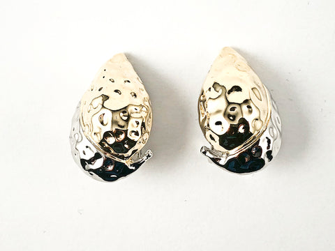 Unique Curved Pear Shape Hammered Design Two Tone Style Clip On Brass Earrings