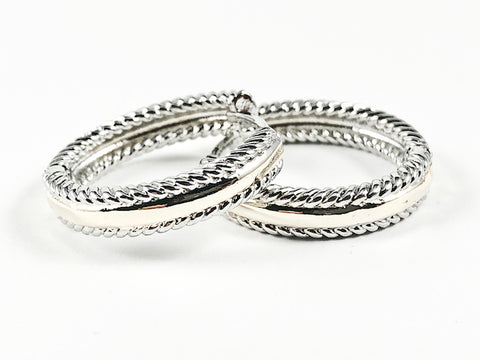 Beautiful Textured Shiny Metallic Two Tone Style Hoop Brass Earrings