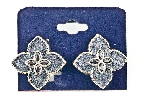 Beautiful Flower Shape Form Dark Silver Glitter Style Gold Tone Brass Clip On Earrings