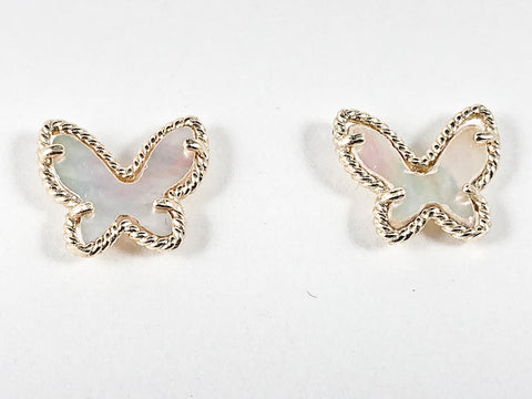 Cute Butterfly Shape Design Center Mother Of Pearl Gold Tone Brass Earrings