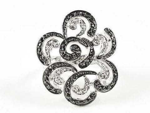 Unique Swirl & Curve Open Black & White CZ Brass Ring
