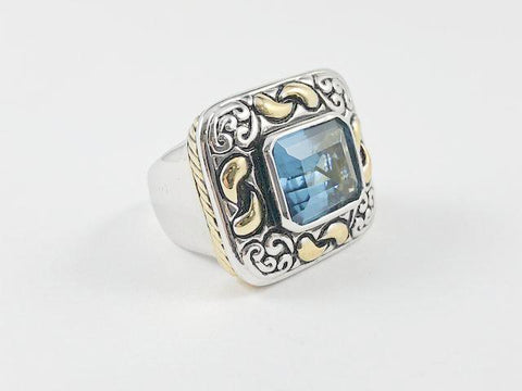 Square Shape With Classic Accents Brass Ring